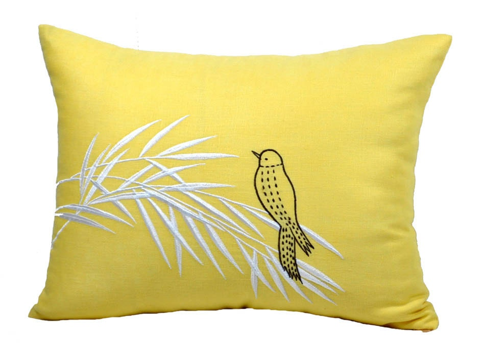 Yellow Linen Throw Pillow : Lumbar Throw Pillow Cover Bird Pillow Case Yellow Linen
