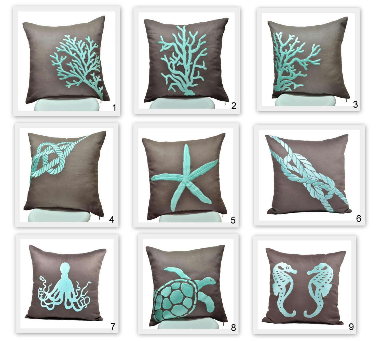 Throw Pillow Covers Set : Nautical Pillow Covers Throw Pillow Covers set of 2 Taupe