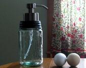 Spring Feaver Sale Heros Cross Mason Jar FOAMING SOAP dispenser, Historic Mason Jar, Blue- Green Mason Jar Soap Dispenser, Heros Cross, Iron