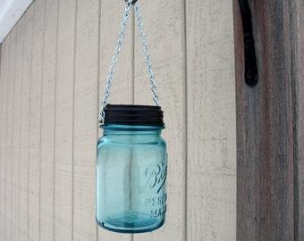 Mason Jar Hanging Solar Light. Outdoor Lanterns, Garden Decor, Eco friendly vintage blue ball mason jar hanging light