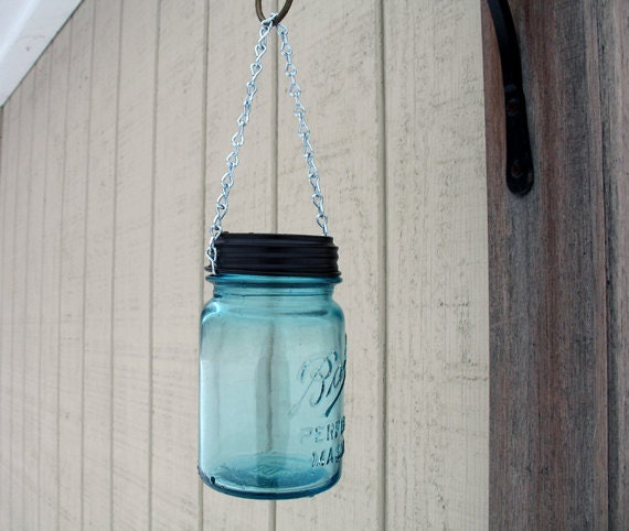 mason jar hanging solar light outdoor lanterns garden decor eco friendly vintage blue ball mason jar solar lights