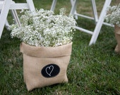 Large Burlap Bag with Re-Useable Chalkboard Labels for Outdoor Wedding or Party Décor, Centerpieces, Table Numbers
