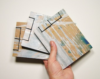 Trio of Silver Mini Recycled Sketchbooks - Stab Bound
