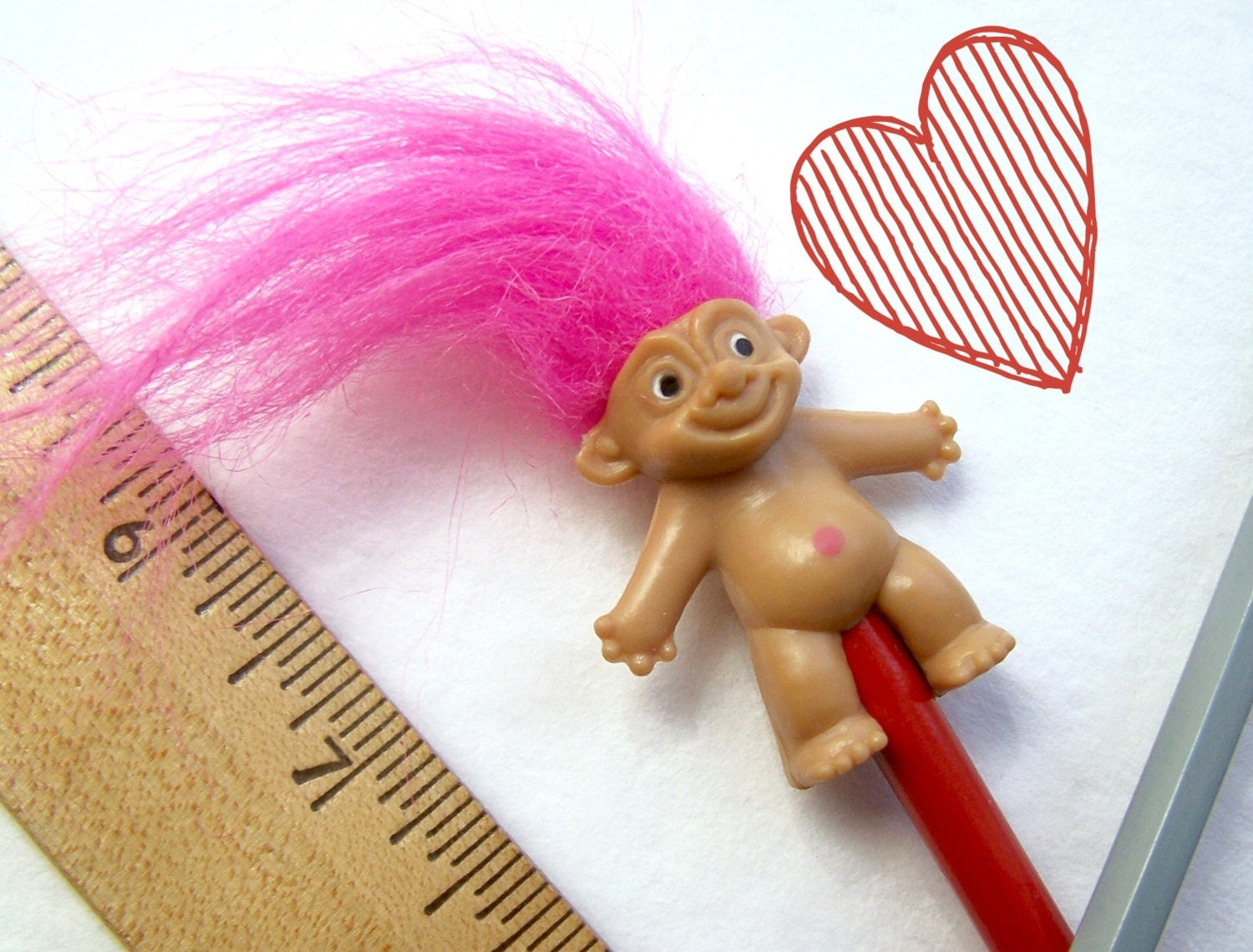 Vintage Toy Pink Hair Troll Doll Miniature Pencil Topper