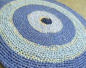 """Crochet rag rug in shades of blue, chambray. Eco, recycled. 32"""" round."""