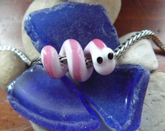 Dread Bead, Dreadlock Snake bead 4, 5 or 6mm hole made to order, pink