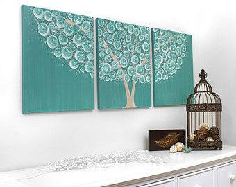 Flowering Tree Painting on Canvas - Brown and Teal Home Decor - Original Art Triptych- Large 50x20 - MADE TO ORDER