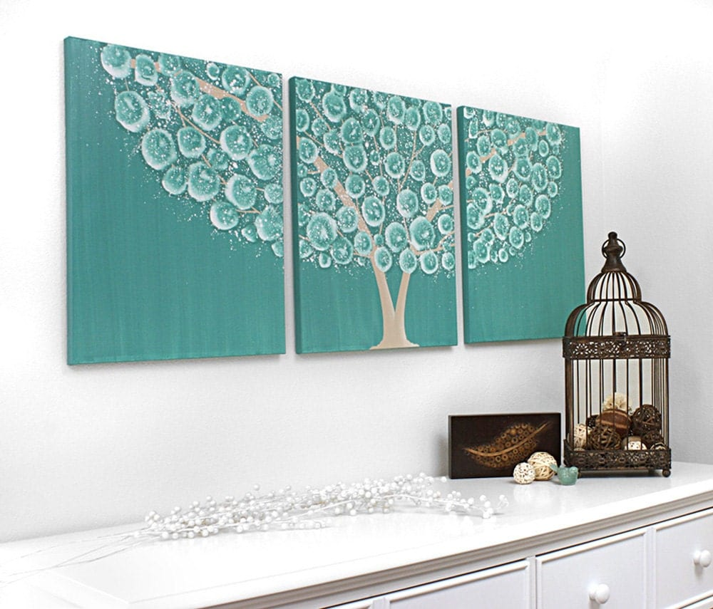 Brown And Teal Home Decor Large Flowering Tree Painting On Triptych Canvas By Amborela