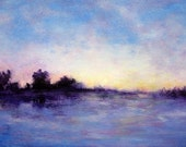 ORIGINAL Landscape painting fog study along the coast of Northern California colors blue, purple and yellow