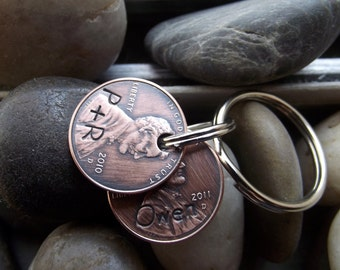2 Penny Keychain on one ring