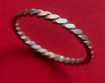 Sterling Silver Pressed Rope Ring Stacking Band