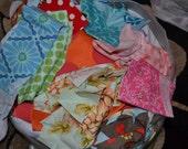 Fabric scraps, mostly designer