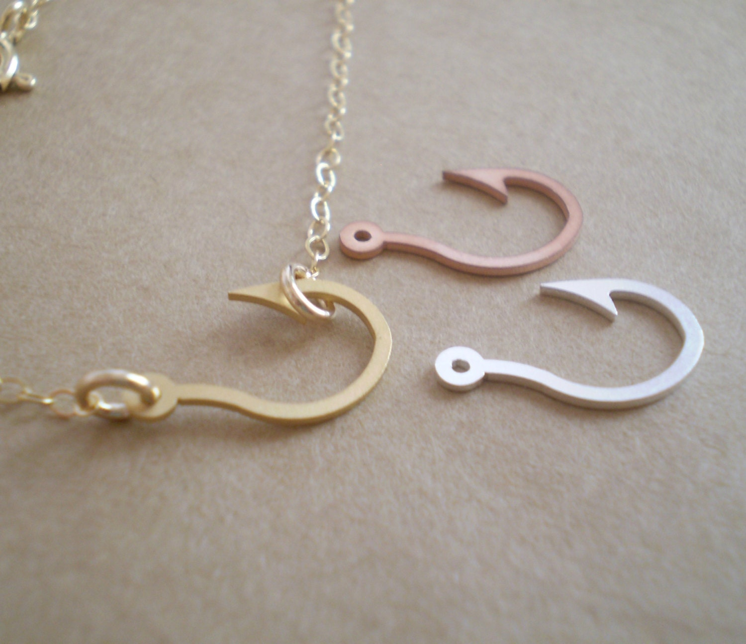 Fish hook necklace fishing hook fishing necklace fish for Fish hook charm