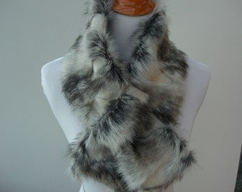 Faux Fur NECKWARMER Scarf with loop, Brandy Fox Gray Faux Fur Neckpiece, Fur Neckpiece, Fur Collar, Women's Cowl