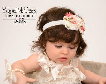 Shabby Chic Frayed Rose Headband to match Petti Lace Rompers w/ pearls and crystals white floral