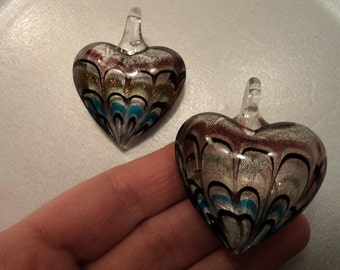 SALE - Silver Glass Heart Pendant - Purple/Black/Blue