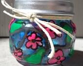 Hand Painted Pink Flowers, Leaves & Vines Upcycled Glass Nug Jug Baby Stash Jar