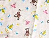 FREE SHIPPING Robots in Brown - Kawaii Cotton/Linen Blend Fabric - Fat Quarter