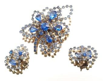 Sky Blue Vintage Rhinestone Brooch Set Demi Parure Broach & Earring Set Wedding Bridal Formal