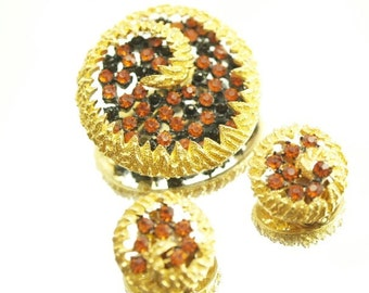 Orange Black Gold Demi Parure Brooch Earring Set Round Swirl Broach