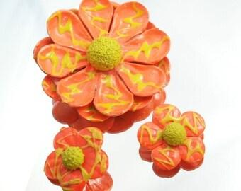 Neon Orange & Yellow Flower Brooch Earring Set Matching Demi Parure
