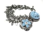 SALE Blue Flower Bracelet, Brushed Silver Fringe Chain,Carnation, Filigree, Floral Bridal Jewelry