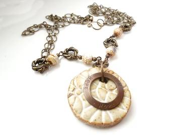 SALE Ceramic and Brass Hope Necklace, Natural, Ceramic, Crackle Agate, Antiqued Brass, Rustic Fashion