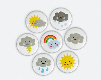 Cute Weather Magnets 1 inch Sun - Clouds - Rainbow - Lightning - Rain