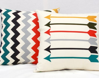 Sharp Shooter - 18x18 arrow pattern, muted rainbow organic screenprinted pillow