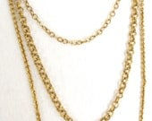 Vintage 1970's Gold Triple Chain Extra Long Necklace