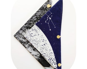 Moon bandana, Moon Scarf, Bandana bib, festival clothing, hand printed, Black and White space bandana with stars and animal constellations