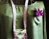 pastoral spring -silk  pouch - bag necklace in lilac / cell phone pouch -  art to wear