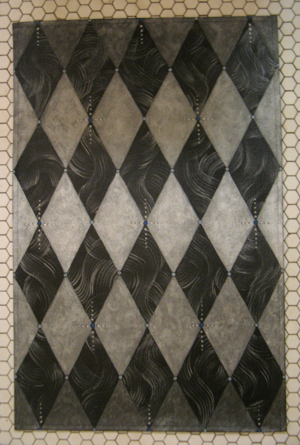 Harlequin Rug Floorcloth Silver And Black With Marble Pattern