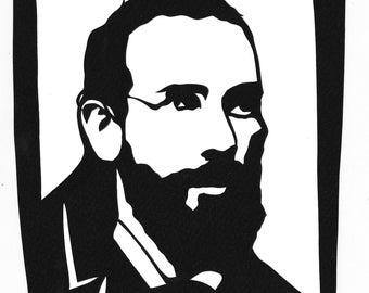 Ancestor Stencil Portrait - Papercut portrait - gift - birthday anniversary holidays