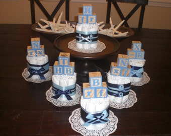 Baby Block Diaper Cake baby shower centerpieces Navy and Baby Blue other colors and sizes too
