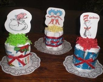 Dr Seuss baby shower centerpieces mini cake diaper cakes Baby Shower Centerpiece Diaper Cake