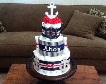 Ahoy it's a Boy nautical Anchor Diaper Cake Baby Shower Centerpiece other colors too