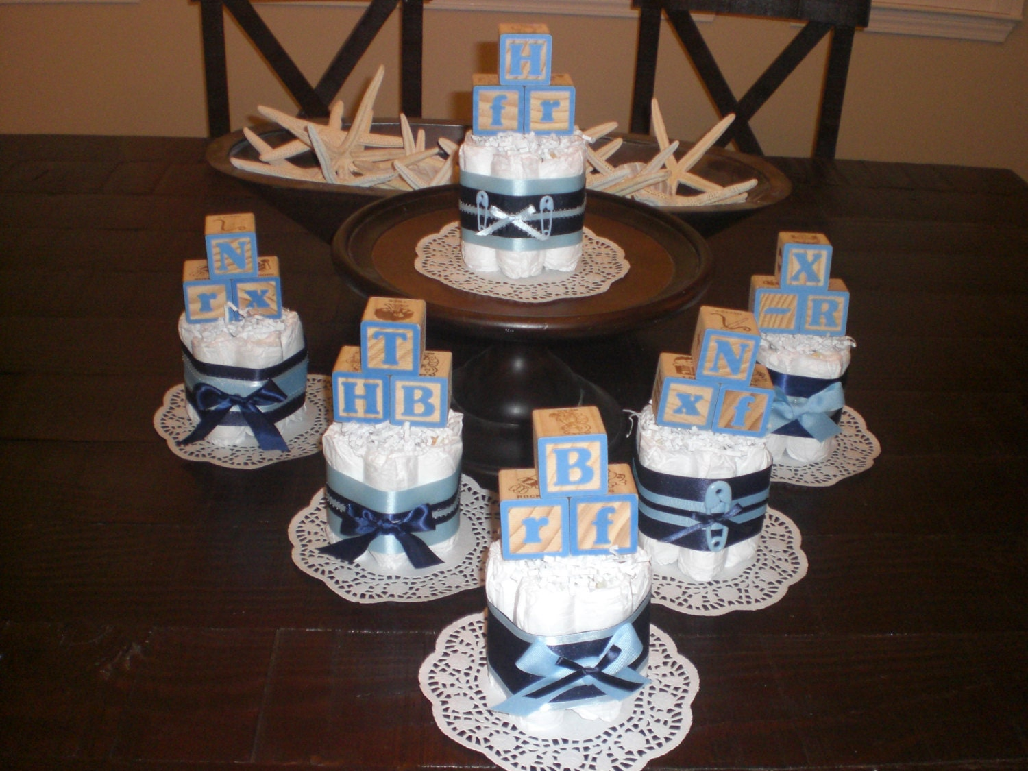 Baby Block Diaper Cake baby shower centerpieces Navy and Baby