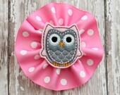 Owl feltie polka dot grossgrain hairbow