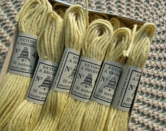Vintage French Embroidery Cotton Thread / Floss 12 skeins unused in original box - Dollfus-Mieg & Co shade 2446 No. 4