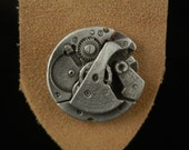 Pewter Steampunk Watch Leather  Bookmark