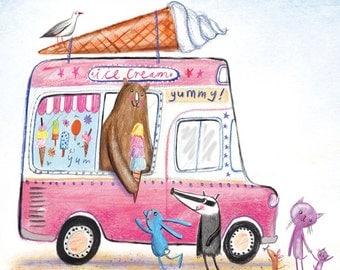 Ice Cream Van, Giclee print of my illustration