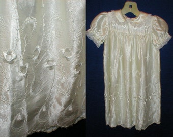 VTG 50 embroidered white satin christening gown dress infants size large