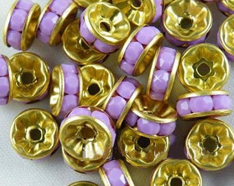 Vintage 10 Gold Plated Mock Lilac Chaledony Crystal 8mm Spacer Beads GR8