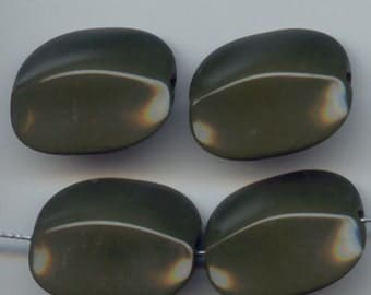Vintage 6 Dark Olive Green Uniquely Shaped Beads 35x30mm   O1R