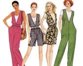 Misses V Neck Jumpsuit Pattern - Womens Jumpsuit Sewing Pattern - McCalls 8214 - Uncut, Factory Folds