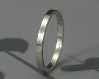 Women's Wedding Band--Straight and Narrow 2mm--Flat Edge Band--Solid Gold Ring--Women's Wedding Ring--Thin Flat Ring--2mm Wide Ring