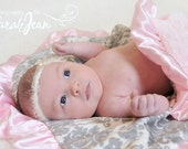 Pink and Gray Damask Minky Baby Blanket or Adult Throw - Wedding GiftCan Be Personalized