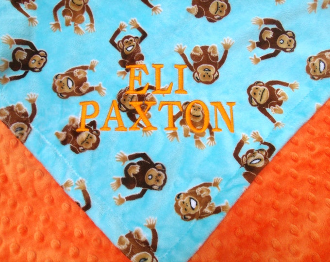 Monkey Print Turquoise and Orange Minky Blanket for Baby and Toddler Boys Can Be Personalized