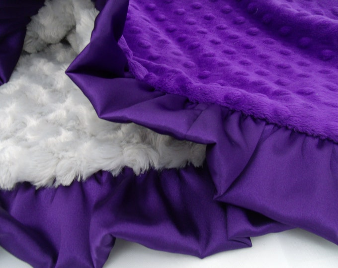 Deep Purple and Gray Minky Dot Baby Blanket Can Be Personalized